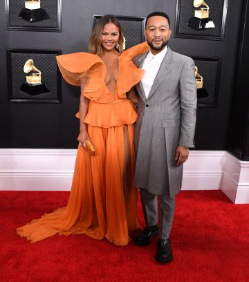 Chrissy Teigen and John Legend arrives at the 62nd Annual GRAMMY Awards at Staples Center on January 26, 2020 in Los Angeles, California. (Photo by Steve Granitz/WireImage)
