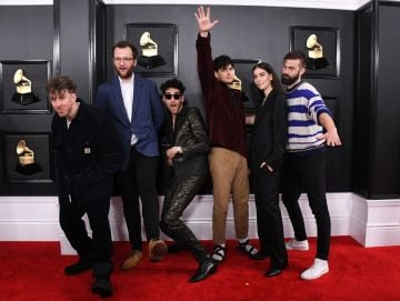 (L-R) Ariel Rechtshaid, Chris Baio of Vampire Weekend, David Macklovitch of Chromeo, Ezra Koenig of Vampire Weekend, Danielle Haim of HAIM, and Chris Tomson of Vampire Weekend attend the 62nd Annual GRAMMY Awards at Staples Center on January 26, 2020 in Los Angeles, California. (Photo by Steve Granitz/WireImage)