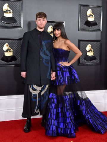 James Blake and Jameela Jamil attend the 62nd Annual GRAMMY Awards at Staples Center on January 26, 2020 in Los Angeles, California. (Photo by Axelle/Bauer-Griffin/FilmMagic)