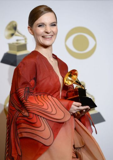 """Hildur Guðnadóttir, winner of Best Score Soundtrack For Visual Media for """"Chernobyl"""" poses in the press room during the 62nd Annual GRAMMY Awards at Staples Center on January 26, 2020 in Los Angeles, California. (Photo by Amanda Edwards/Getty Images)"""