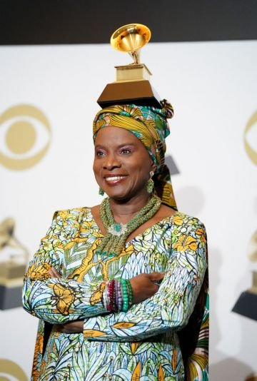 """Angelique Kidjo, winner of Best World Music Album for """"Celia"""", poses in the press room during the 62nd Annual GRAMMY Awards at Staples Center on January 26, 2020 in Los Angeles, California. (Photo by Rachel Luna/FilmMagic)"""