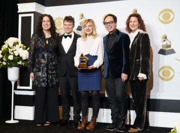 (L-R) Mara Isaacs, Todd Sickafoose, Anais Mitchell and David Lai pose in the press room with the award for Best Musical Theater Album during the 62nd Annual GRAMMY Awards at Staples Center on January 26, 2020 in Los Angeles, California. (Photo by Rachel Luna/FilmMagic)