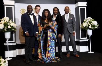 """Quentin E. Baxter, Clay Ross, Kevin Hamilton, Charlton Singleton, and Quiana Parler of Ranky Tanky, winners of the Best Regional Roots Music Album for """"Good Time"""" pose in the press room during the 62nd Annual GRAMMY Awards at Staples Center on January 26, 2020 in Los Angeles, California. (Photo by Amanda Edwards/Getty Images)"""