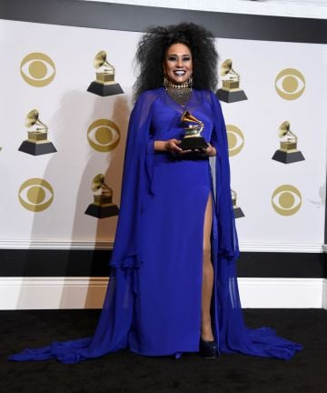 """Aymée Nuviola, winner of Best Tropical Latin Album for """"""""A Journey Through Cuban Music"""""""" poses in the press room during the 62nd Annual GRAMMY Awards at Staples Center on January 26, 2020 in Los Angeles, California. (Photo by Amanda Edwards/Getty Images)"""
