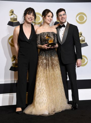 """Attacca Quartet, winners of Best Chamber Music/Small Ensemble Performance for """"Shaw: Orange"""" pose in the press room during the 62nd Annual GRAMMY Awards at Staples Center on January 26, 2020 in Los Angeles, California. (Photo by Amanda Edwards/Getty Images)"""