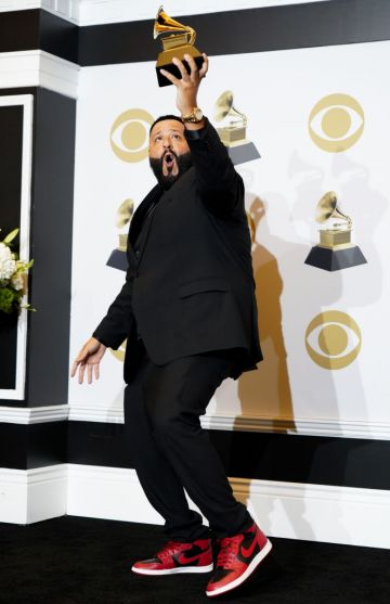 """DJ Khaled winner of Best Rap/Sung Performance for """"Higher"""" poses in the press room during the 62nd Annual GRAMMY Awards at Staples Center on January 26, 2020 in Los Angeles, California. (Photo by Rachel Luna/FilmMagic)"""