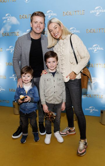 Brian Ormond and Pippa O'Connor with kids Louis and Ollie pictured at the Universal Pictures special preview screening of Dolittle at Odeon Point Square, Dublin.