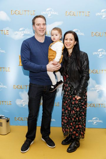 Dominic Holmes, Matilda (1) and Michelle Davis pictured at the Universal Pictures special preview screening of Dolittle at Odeon Point Square, Dublin.