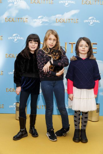 Lucy Maguire (9), Sadhbh Magee and Anna Maguire (6) pictured at the Universal Pictures special preview screening of Dolittle at Odeon Point Square, Dublin.