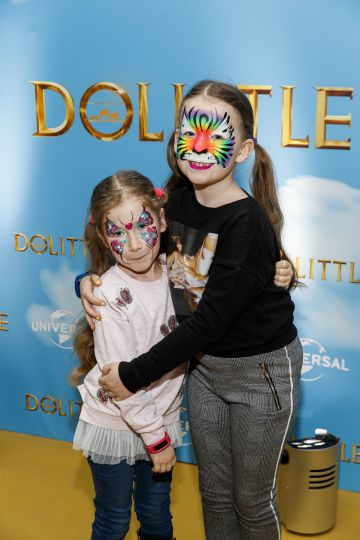 Anna (6) and Maria Verdes (8) pictured at the Universal Pictures special preview screening of Dolittle at Odeon Point Square, Dublin.