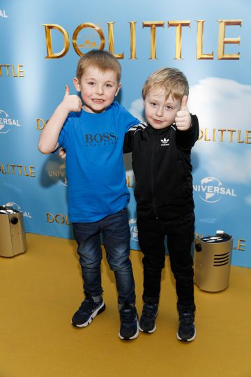 Jase (5) and Frankie Mooney (4) pictured at the Universal Pictures special preview screening of Dolittle at Odeon Point Square, Dublin.