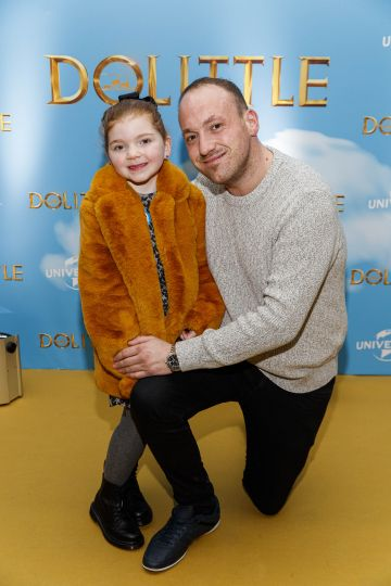 Emeri Hanley (5) and John Traynor pictured at the Universal Pictures special preview screening of Dolittle at Odeon Point Square, Dublin.