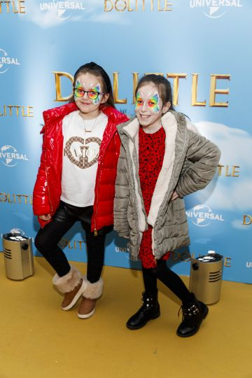Libby Brunt and Leah McGowan (9) pictured at the Universal Pictures special preview screening of Dolittle at Odeon Point Square, Dublin.