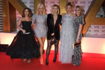 (L to R) Georgia May Foote, Denise van Outen, Kimberley Walsh, Lydia Bright and Kara Tointon attend the National Television Awards 2020 at The O2 Arena on January 28, 2020 in London, England. (Photo by David M. Benett/Dave Benett/Getty Images)