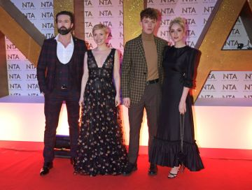 (L to R) Emmett J. Scanlan, Kate Philips, Harry Kirton and Sophie Rundle attend the National Television Awards 2020 at The O2 Arena on January 28, 2020 in London, England. (Photo by David M. Benett/Dave Benett/Getty Images)