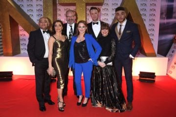 (L to R) Bhasker Patel, Rebecca Sarker, guest, Nicola Wheeler, Jonny McPherson, Karen Blick and Jurell Carter attend the National Television Awards 2020 at The O2 Arena on January 28, 2020 in London, England. (Photo by David M. Benett/Dave Benett/Getty Images)
