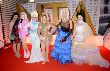 Sum Ting Wong, Scaredy Kat, Blu Hydrangea, Cheryl Hole, Crystal and Gothy Kendoll of RuPaul's Drag Race attend the National Television Awards 2020 at The O2 Arena on January 28, 2020 in London, England. (Photo by Dave J Hogan/Getty Images)