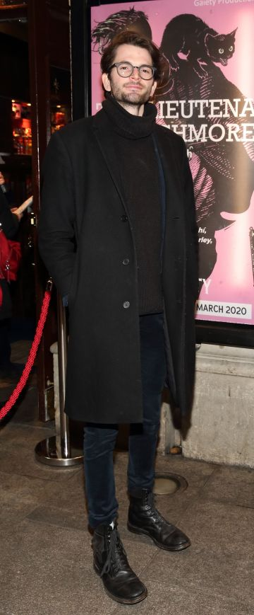 Harry Hudson-Taylor pictured at the opening of the Gaiety Theatre's major new production of Martin McDonagh's 'The Lieutenant of Inishmore', which will run at the Gaiety Theatre until 14th March.