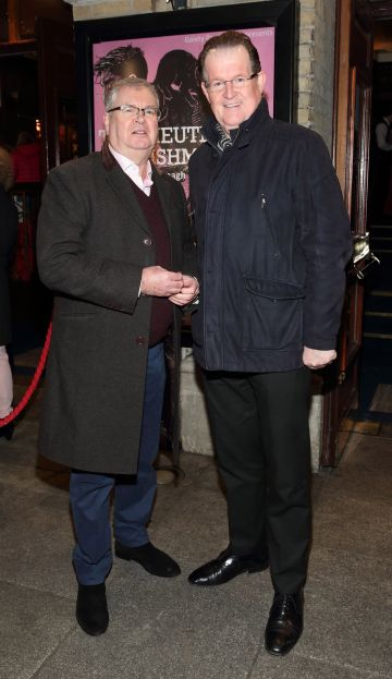 Joe Duffy and Aonghus McAnally pictured at the opening of the Gaiety Theatre's major new production of Martin McDonagh's 'The Lieutenant of Inishmore', which will run at the Gaiety Theatre until 14th March.