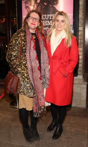 Lena Marie Fitzgerald and Emma Norton pictured at the opening of the Gaiety Theatre's major new production of Martin McDonagh's 'The Lieutenant of Inishmore', which will run at the Gaiety Theatre until 14th March.