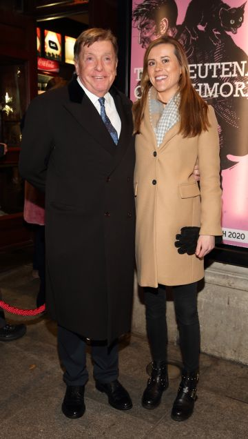 Albert Sharpe and Rebecca Mooney pictured at the opening of the Gaiety Theatre's major new production of Martin McDonagh's 'The Lieutenant of Inishmore', which will run at the Gaiety Theatre until 14th March.