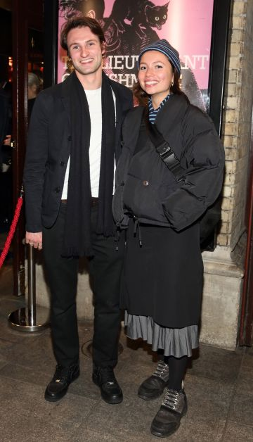 Felix Brown and Hannah Wilcock pictured at the opening of the Gaiety Theatre's major new production of Martin McDonagh's 'The Lieutenant of Inishmore', which will run at the Gaiety Theatre until 14th March.