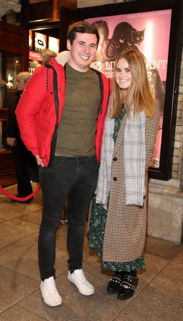 Ronan Spain and Helen Bermingham pictured at the opening of the Gaiety Theatre's major new production of Martin McDonagh's 'The Lieutenant of Inishmore', which will run at the Gaiety Theatre until 14th March.