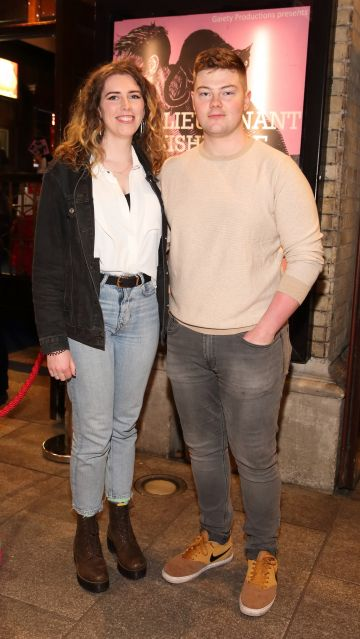 Anna McLoughlin and Colin O'Shea pictured at the opening of the Gaiety Theatre's major new production of Martin McDonagh's 'The Lieutenant of Inishmore', which will run at the Gaiety Theatre until 14th March.