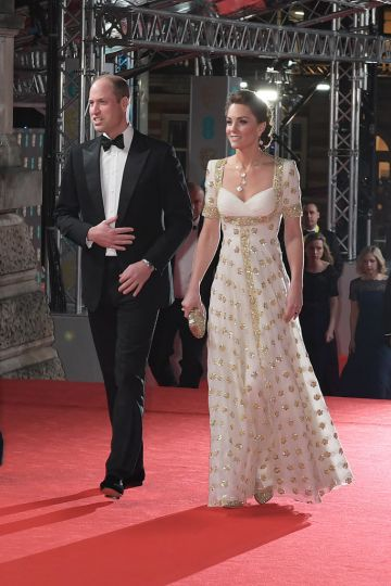 Prince William, Duke of Cambridge, and Catherine, Duchess of Cambridge arrive at the EE British Academy Film Awards 2020 at Royal Albert Hall on February 2, 2020 in London, England. (Photo by David M. Benett/Dave Benett/Getty Images)