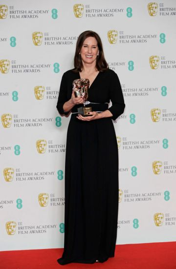 Kathleen Kennedy, winner of the BAFTA Fellowship, poses in the Winners Room at the EE British Academy Film Awards 2020 at Royal Albert Hall on February 2, 2020 in London, England. (Photo by David M. Benett/Dave Benett/Getty Images)