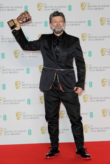Andy Serkis, winner of the Outstanding British Contribution To Cinema award, poses in the Winners Room at the EE British Academy Film Awards 2020 at Royal Albert Hall on February 2, 2020 in London, England. (Photo by David M. Benett/Dave Benett/Getty Images)