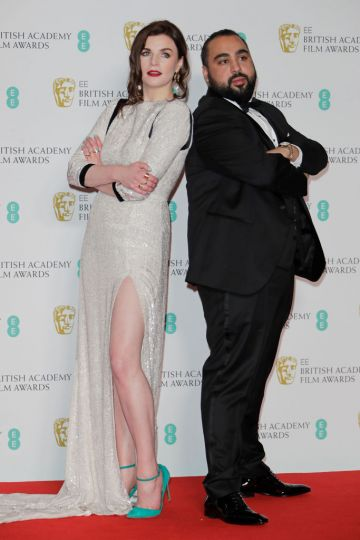 Aisling Bea and Asim Chaudhry aka Chabuddy G pose in the Winners Room at the EE British Academy Film Awards 2020 at Royal Albert Hall on February 2, 2020 in London, England. (Photo by David M. Benett/Dave Benett/Getty Images)