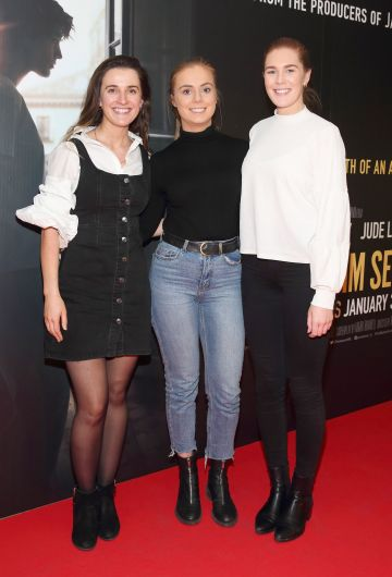 Muireann Cotter, Lorna Small and Orla Scully pictured at the special preview screening of The Rhythm Section at the Light House Cinema, Dublin. Pic: Brian McEvoy Photography