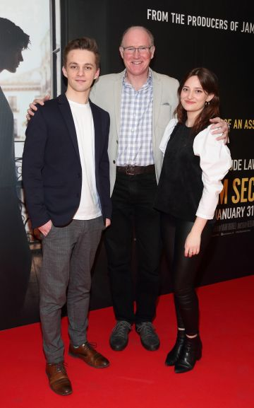 David Duggan, Bill O'Connell and Elly Curtis pictured at the special preview screening of The Rhythm Section at the Light House Cinema, Dublin. Pic: Brian McEvoy Photography