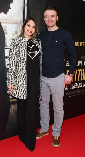 Talita Miranda and Donal Cuddy pictured at the special preview screening of The Rhythm Section at the Light House Cinema, Dublin. Pic: Brian McEvoy Photography