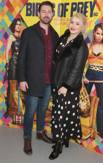 Stephen Treacy and Rebecca Grimes at the special preview screening of Birds of Prey at the Lighthouse Cinema, Dublin. Pic: Brian McEvoy