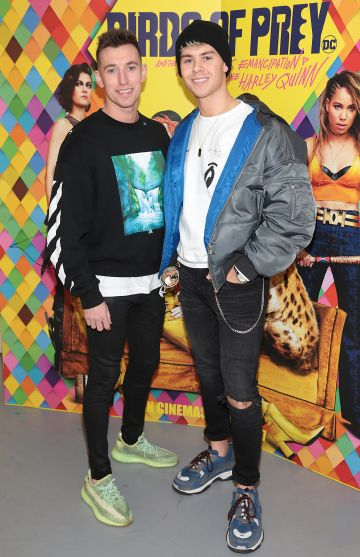Brian Corr and Adam Fogarty at the special preview screening of Birds of Prey at the Lighthouse Cinema, Dublin. Pic: Brian McEvoy