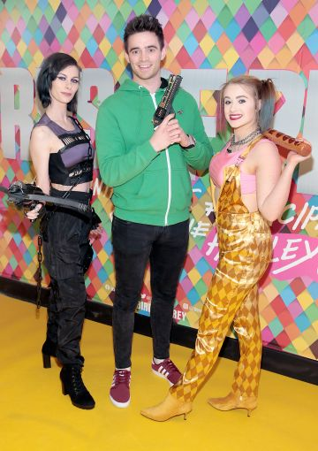 Daisy Delaney, Peter Collins and Isabel Whitmore at the Irish Premiere screening of Birds of Prey at Cineworld, Dublin. Pic: Brian McEvoy