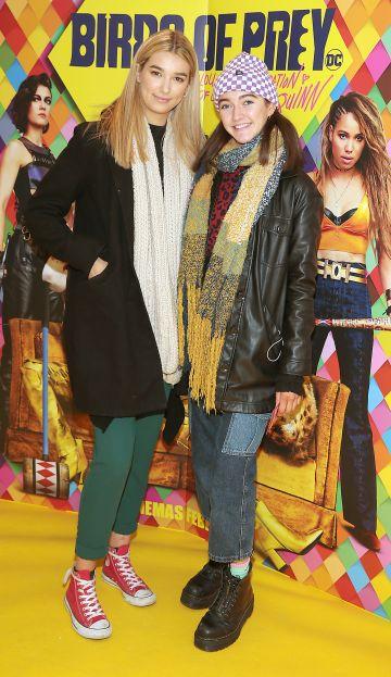Andra Pentelei and Emma Smullen at the Irish Premiere screening of Birds of Prey at Cineworld, Dublin. Pic: Brian McEvoy