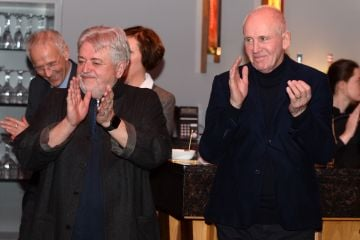 Bill Whelan and John Hughes at the album launch of Riverdance  - 25th anniversary show at the 3Arena in Dublin. Photo: Justin Farrelly.