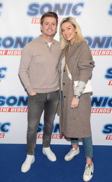 Brian Ormond and Pippa O Connor at the special preview screening of Sonic the Hedgehog Movie at the Odeon Cinema in Point Square, Dublin. Pic: Brian McEvoy