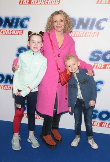 Denise McCormack, Zoe O Halloran and Sidney Gammell at the special preview screening of Sonic the Hedgehog Movie at the Odeon Cinema in Point Square, Dublin. Pic: Brian McEvoy