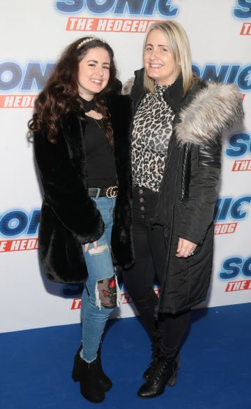 Sophie Fleming and Philomena Fleming at the special preview screening of Sonic the Hedgehog Movie at the Odeon Cinema in Point Square, Dublin. Pic: Brian McEvoy