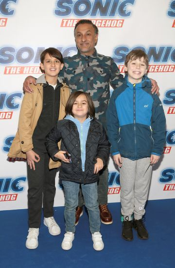 Vic Kumar, Sonny Kumar, Skye Kumar and Will Wright at the special preview screening of Sonic the Hedgehog Movie at the Odeon Cinema in Point Square, Dublin. Pic: Brian McEvoy