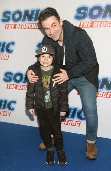 Gordon Hayden and Alex Hayden at the special preview screening of Sonic the Hedgehog Movie at the Odeon Cinema in Point Square, Dublin. Pic: Brian McEvoy