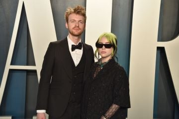 Finneas O'Connell and Billie Eilish attend the 2020 Vanity Fair Oscar Party at Wallis Annenberg Center for the Performing Arts on February 09, 2020 in Beverly Hills, California. (Photo by David Crotty/Patrick McMullan via Getty Images)