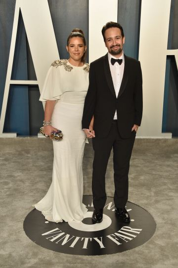 Vanessa Nadal and Lin-Manuel Miranda attend the 2020 Vanity Fair Oscar Party at Wallis Annenberg Center for the Performing Arts on February 09, 2020 in Beverly Hills, California. (Photo by David Crotty/Patrick McMullan via Getty Images)
