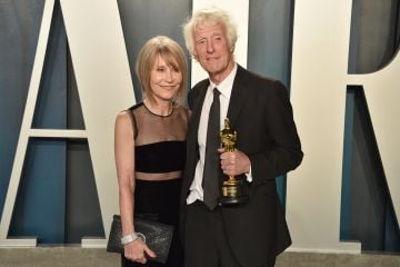 Isabella James Purefoy Ellis and Roger Deakins attend the 2020 Vanity Fair Oscar Party at Wallis Annenberg Center for the Performing Arts on February 09, 2020 in Beverly Hills, California. (Photo by David Crotty/Patrick McMullan via Getty Images)