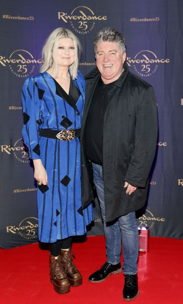 Caroline Mc Brearty and Pat Shortt at the historic gala performance of Riverdance 25th Anniversary show at 3Arena Dublin exactly 25 years to the day that Riverdance was first performed at the Point Depot.  Photo: Kieran Harnett