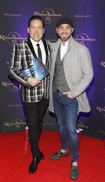 Julian Benson and Simon Murphy at the historic gala performance of Riverdance 25th Anniversary show at 3Arena Dublin exactly 25 years to the day that Riverdance was first performed at the Point Depot.  Photo: Kieran Harnett